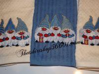 Embroidered Gnome Elf Dwarf Dish Towel