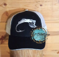 Bass Hook Cap White and Black Hat Embroidered